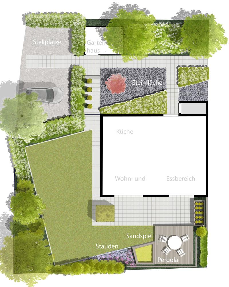Moderner doppelhausgarten m ller gartenplanung for Garten anlegen plan